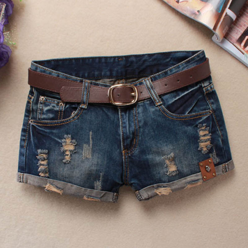 Fashion Korean Summer Women Sexy Denim   Shorts   Frayed Hole Low Waist Skull Decoration Lady Girls Casual Jeans   Shorts   FS9