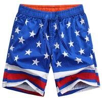 2017 Summer Hot Men Beach Shorts Quick Dry Hawaiian Casual Shorts Star Prints Cotton Breathable Board