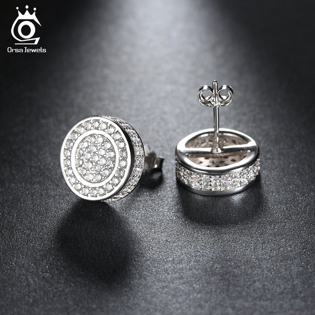 ORSA JEWELS 2019 Classic Silver Color Stud Earring Paved AAA Austrian Cubic Zirconia for Party Fashion Women Men Jewelry OE130
