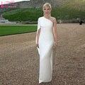 Largo blanco elegante Indios Vestidos De Baile de Un hombro Simples Mujeres de la Manga Vestidos de Noche de La Manera Vestidos Formales Z1103