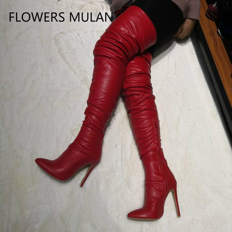 Fashion Show Red Leather Thigh Boots Women Pointed Toe 12cm High Heels Ladies Booties Side Zipper Pleated Upper Shoes Woman 2019Fashion Show Red Leather Thigh Boots Women Pointed Toe 12cm High Heels Ladies Booties Side Zipper Pleated Upper Shoes Woman 2019