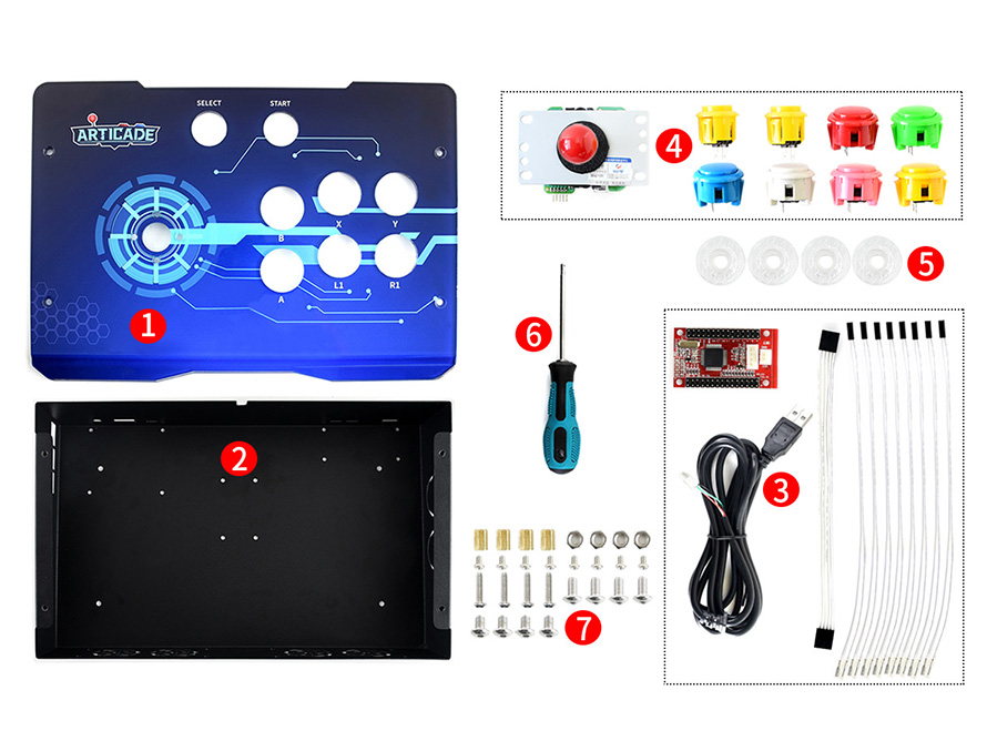 Image 2 - Waveshare Arcade D 1P USB Arcade Control Box for Raspberry Pi/PC/Notebook/OTG Android Phone/Tablet/Smart TV 1 Player-in Demo Board from Computer & Office