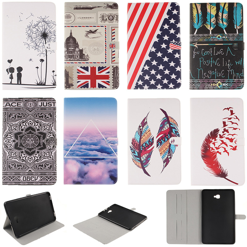 Fashion Feather Lotus Pattern PU Leather Flip Wallet Case For Samsung Galaxy Tab A 10.1 (2016) T580 SM-T580 Back Cover Coque