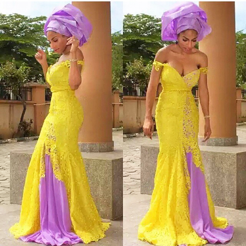 Yellow African Fashion   Evening     Dresses   Long Off Shoulder Mermaid   Evening     Dress   Two-Tone Africa Style   Evening   Formal   Dress   Long