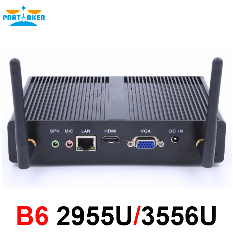 Partaker B6 Dual Core Haswell Intel Celeron 2955U Pentium 3556U Fanless Mini Desktop PC With WIFI 300M Windows 7