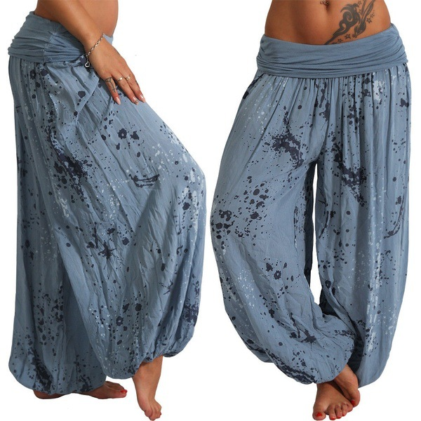 2019 Women Loose Wide Leg Pants Summer Bohemian Long Pants Print Harem Pants Elastic Waist Boho Beach Pants Plus Size XS-5XL