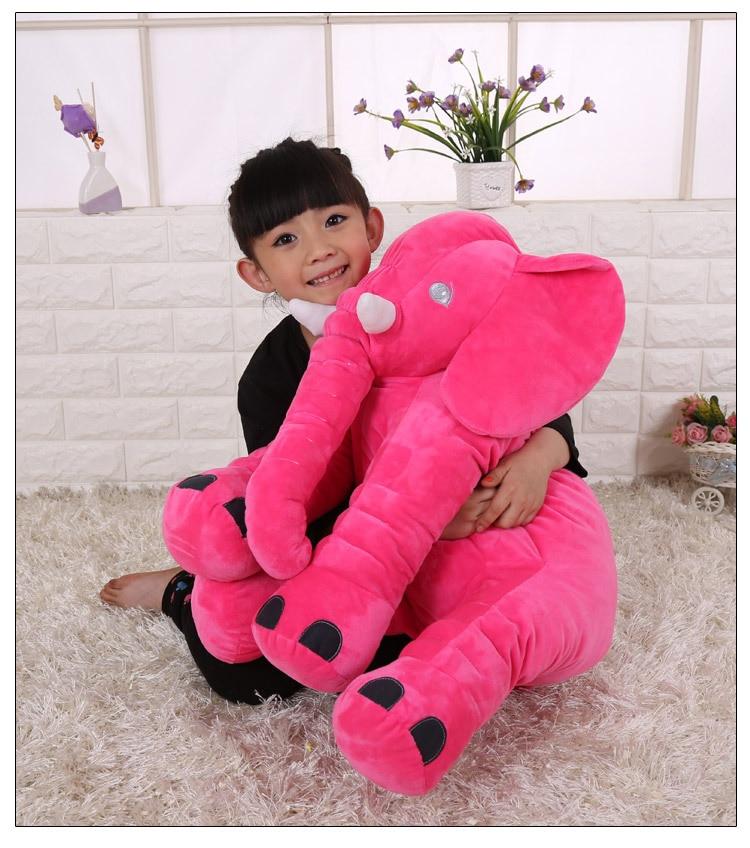 Grand 55x60 cm doux dessin animé éléphant en peluche jouet rose chaud éléphant poupée doux oreiller cadeau d'anniversaire 0222