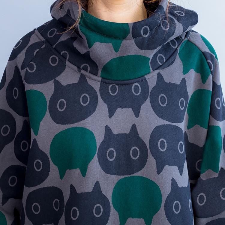 Plus Size Women Hoodies & Sweatshirts Winter Thickening Warm Cotton Fashion Female Cat Print Big Size Casual Turtleneck Dress 18
