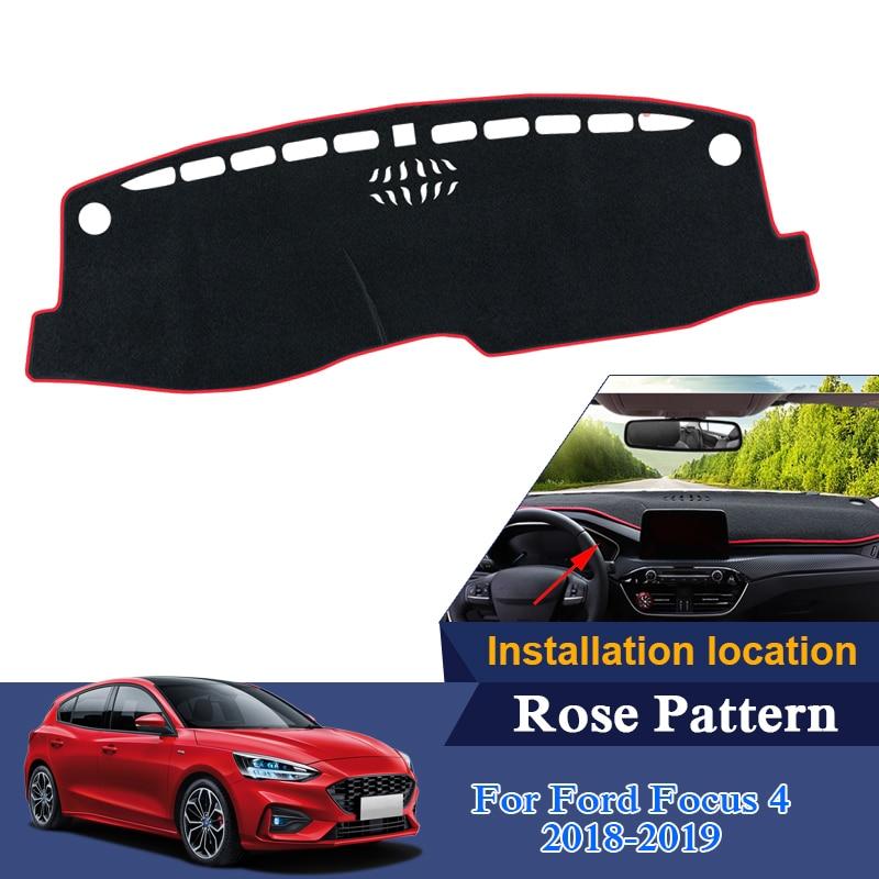 Voiture style tableau de bord tapis de protection ombre coussin photophobisme Rose motif tapis pour Ford Focus 4 2018 2019 LHD tapis internes