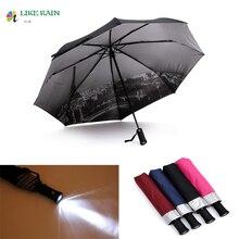 LIKE RAIN Creative LED Light Flashlight Umbrella Rain Women Brand Men Large Automatic Umbrella Eiffel Tower Umbrella UBY36
