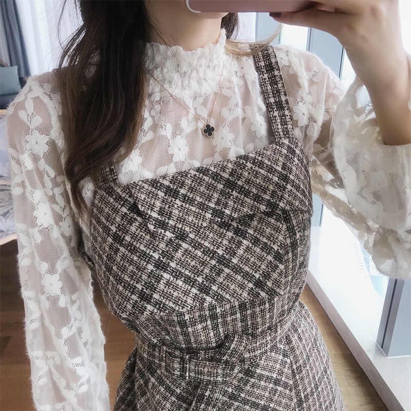 Mishow  теплое платье в клетку в винтажном стиле с поясом длинными руковами и высоким воротником Коллекция осень-зима 2019 материал полиэстер