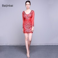 Baijinbai New Fashion Red Above Knee Homecoming Dresses 2016 Vestido De Festa Long Sleeves Beads Sequins