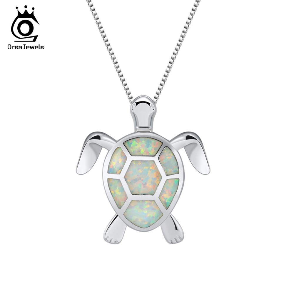 ORSA joyas collares lindos para las mujeres tortuga océano colección genuino colorido ópalo 2018 nueva moda joyería regalo ON152