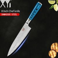 XYj VG10 Damascus Chef Knife 8 inch Kitchen Knife Beauty Pattern Blue Wood Handle Lightweight Effort Kitchen Cooking Tool