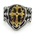 Free Shipping Men's Silver Cool Arabesquitic Silver Golden Cross  316L Stainless Steel Fleur de lis Finger Cocktail Ring