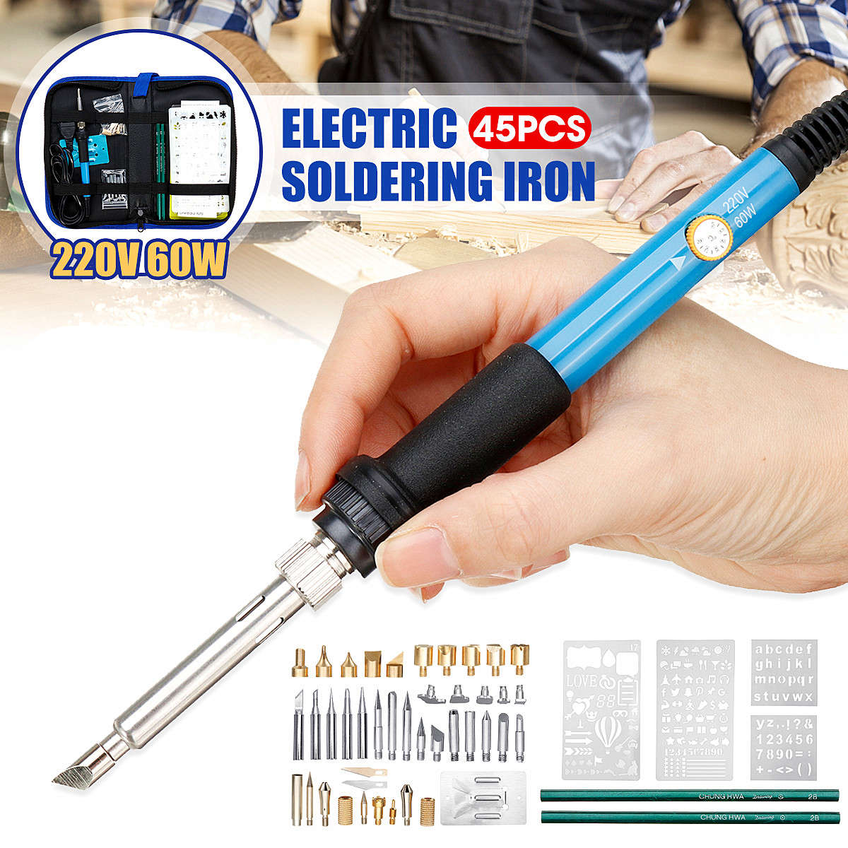 45 In 1 60W Electric Soldering Iron 220V 110V Welding Solder Soldering Iron Tool Kit Rework Station Heat Pencil Repair Tools New45 In 1 60W Electric Soldering Iron 220V 110V Welding Solder Soldering Iron Tool Kit Rework Station Heat Pencil Repair Tools New