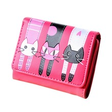 Cute Cat Cartoon Wallet Bag Coin Purse Fashion Leather Women Girl Clutch Student Femme Lovely illustration Wallets