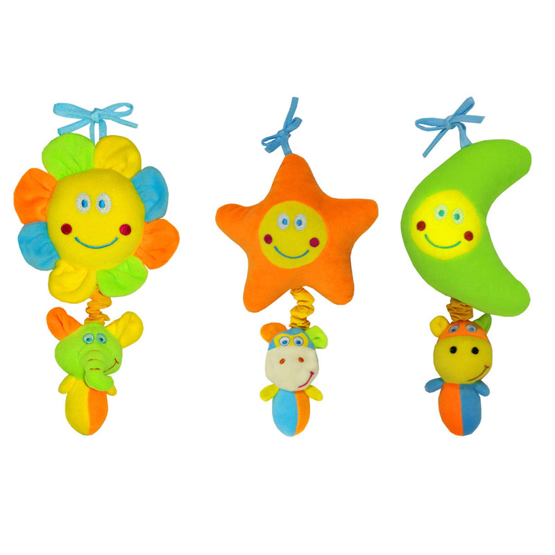 New Cartoon Hanging Musical Mobile Toy Moon Sun Flower Cute Infant Toy Early Educational Shake Ring Bell Creative Baby Toy TY