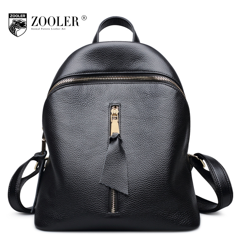 ZOOLER Brand Women Genuine Leather Backpack Female Black Large Capacity Leisure Soft Real Leather Waterproof Backpacks Mochila zooler genuine leather backpacks 2016 new real leather backpack for men famous brand china hot large capacity hot 65055