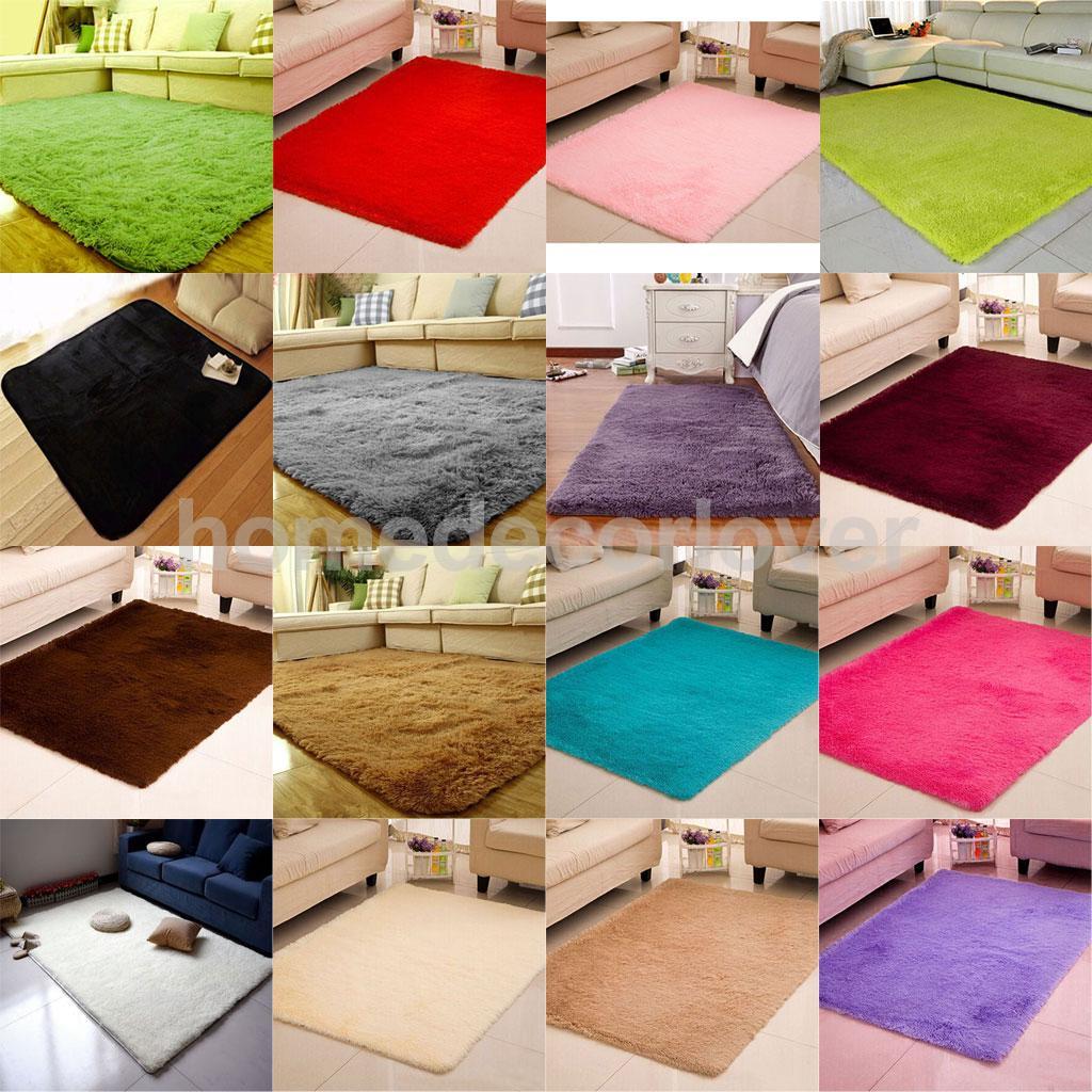 Fluffy Rug Anti Skid Shaggy Area Rug Home Bedroom Carpet