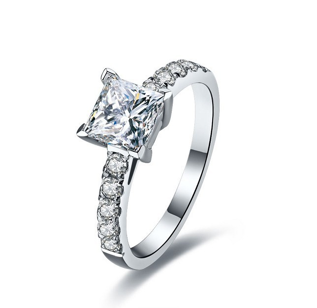 1Ct Awesome Princess Cut Stunning SONA Synthetic Diamonds Ring for Women Wedding Engagement Bridal 925 Silver
