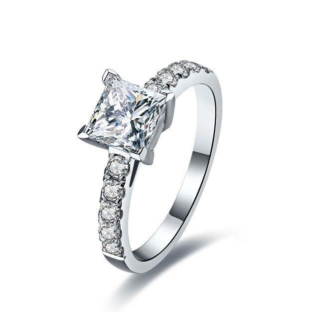 1 Ct impresionante princesa corte impresionante SONA anillo de diamantes sintéticos para mujeres boda compromiso nupcial 925 anillos de plata joyería agradable-in Anillos from Joyería y accesorios    1