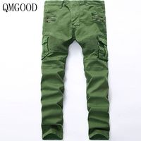QMGOOD Jeans Men Men Skinny Jeans Selling Summer New Men's Jeans Fashion Folds Stretch Sundries Men's Denim Trousers Black Green