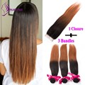 Cheap Bundles with Closure Brazilian virgin human hair Weave Bundles T1b/30 Silky Straight 3 Bundles with 1 Closure In stock