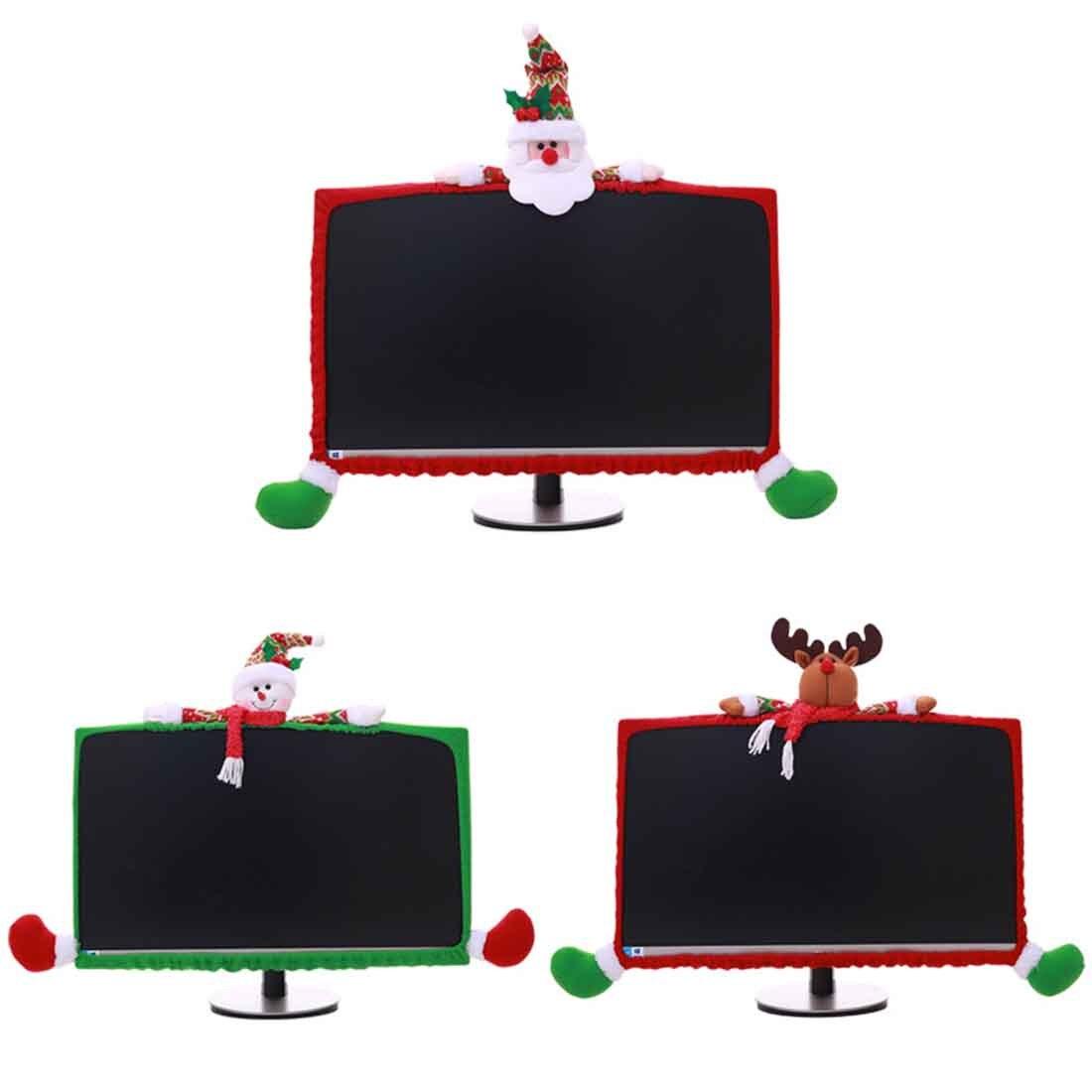 Christmas Home Decor Elastic Laptop Dust Proof Cover Santa Claus Snowman Reindeer Computer Cover Anti-Dust Case Home Decoration