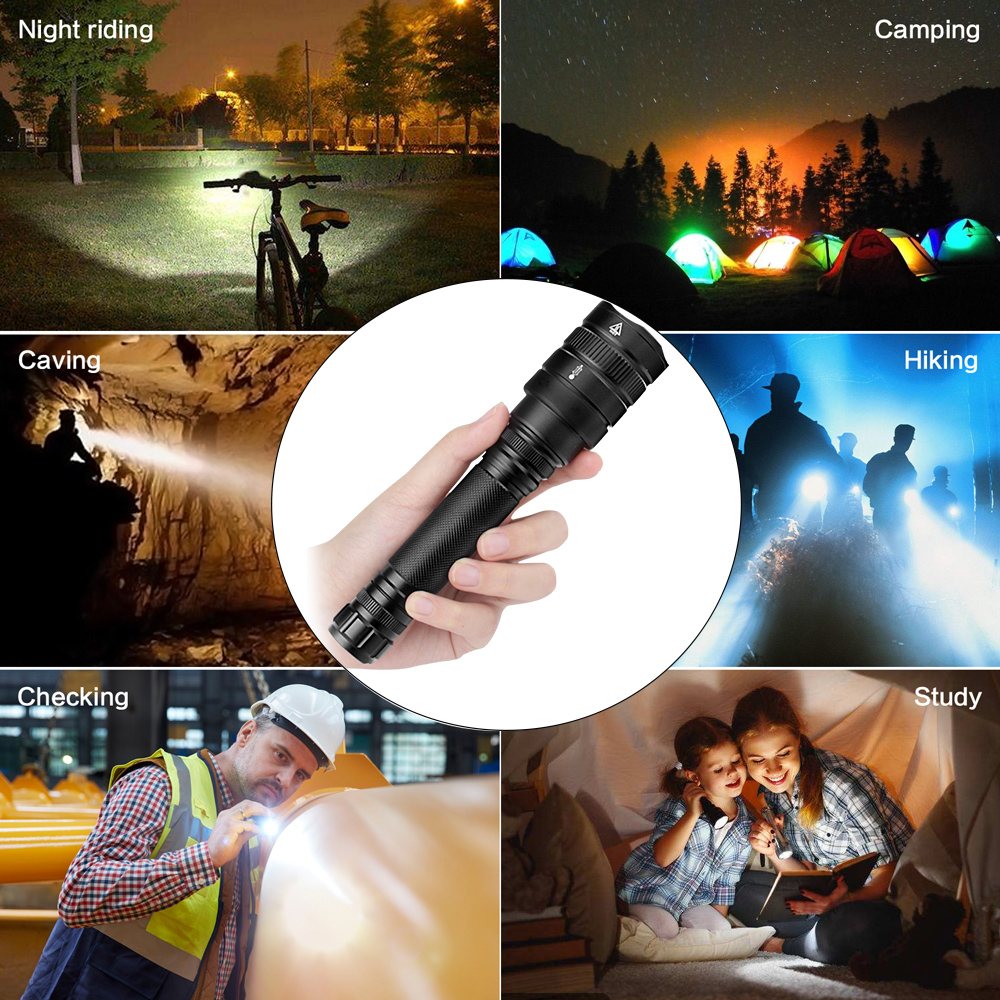 Купить с кэшбэком 50000 Lumen High Power  5 Modes Aluminum alloy LED Flashlight Zoomable Waterproof Super light XHP50  z45