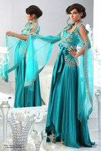 Vestido Formatura Türkische Jilbab Abendkleid Muslimischen Kleider Langarm Blau Kristall Party Kleider Dutterfly Abaya Für Verkauf
