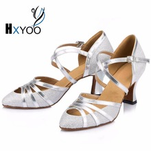 HXYOO New Brand Pointed Toe Salsa Dance Shoes Ladies Ballroom Dance Shoes Latin Shoes Silver Black Brown Customized Heels