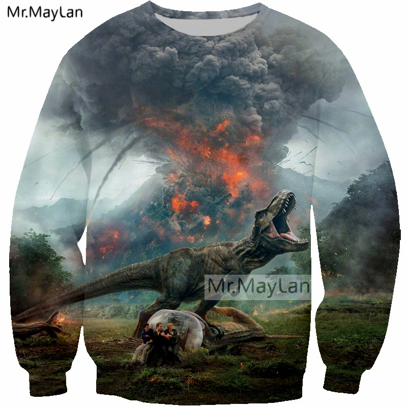 Men's Clothing 2019 New Movie Jurassic World Fallen Kingdom Dinosaur 3d Print Jacket Men/women Streetwear Boy Autumn Clothes