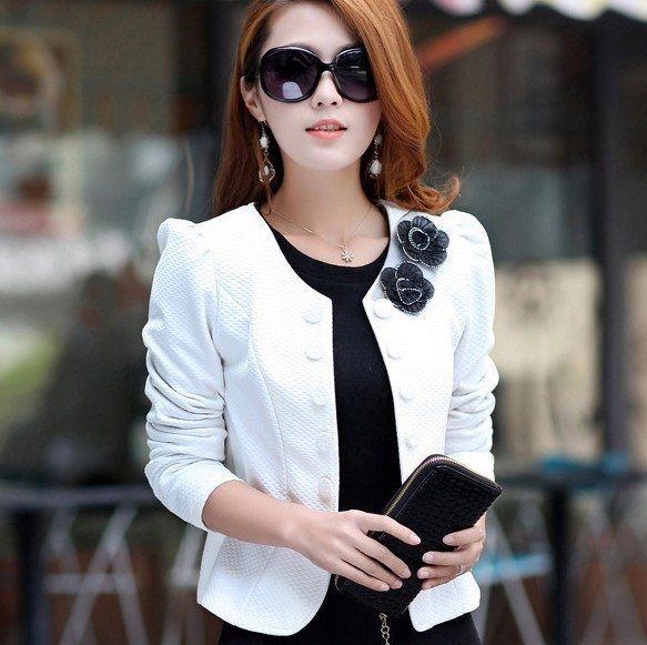 2013 Black/Purple/Pink/White Tops LXXL3XL4XL5XL Fashion Flower Brooch Plus Size Women Coats ...