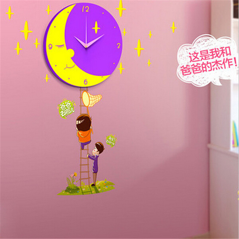 Kids Unique Gift Home Decor DIY Moon Stars Wall Clock With Wall Sticker Wall  Clock Creative DIY Living Room Decor In Wall Clocks From Home U0026 Garden On  ...