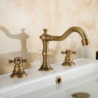 European Antique Kitchen Faucet Bronze Brass Brushed Three Hole Basin Three Piece Set Of Copper Sink