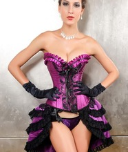 Noble Purple Satin and Black Lace Sexy Corset and Thong