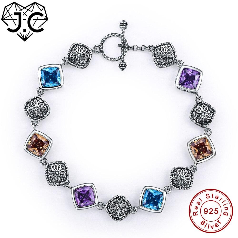 J.C 925 Bracelet en argent Sterling Standard cadeaux de noël pour femmes fille Solitaire améthyste bleu Morganite topaze Bracelets