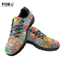 FORUDESIGNS Girls Vulcanized Shoes Cute Flower Printing Sneakers Footwear Breathable Lace Up Women Lightweight Mesh Shoe