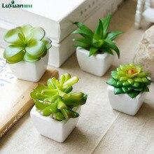 Фотография Luxuan Succulent Bonsai Fake Green Flower Artificial Flower Potted Vase Wedding Home Decorative Desk Ornaments Flower 4pcs/lot