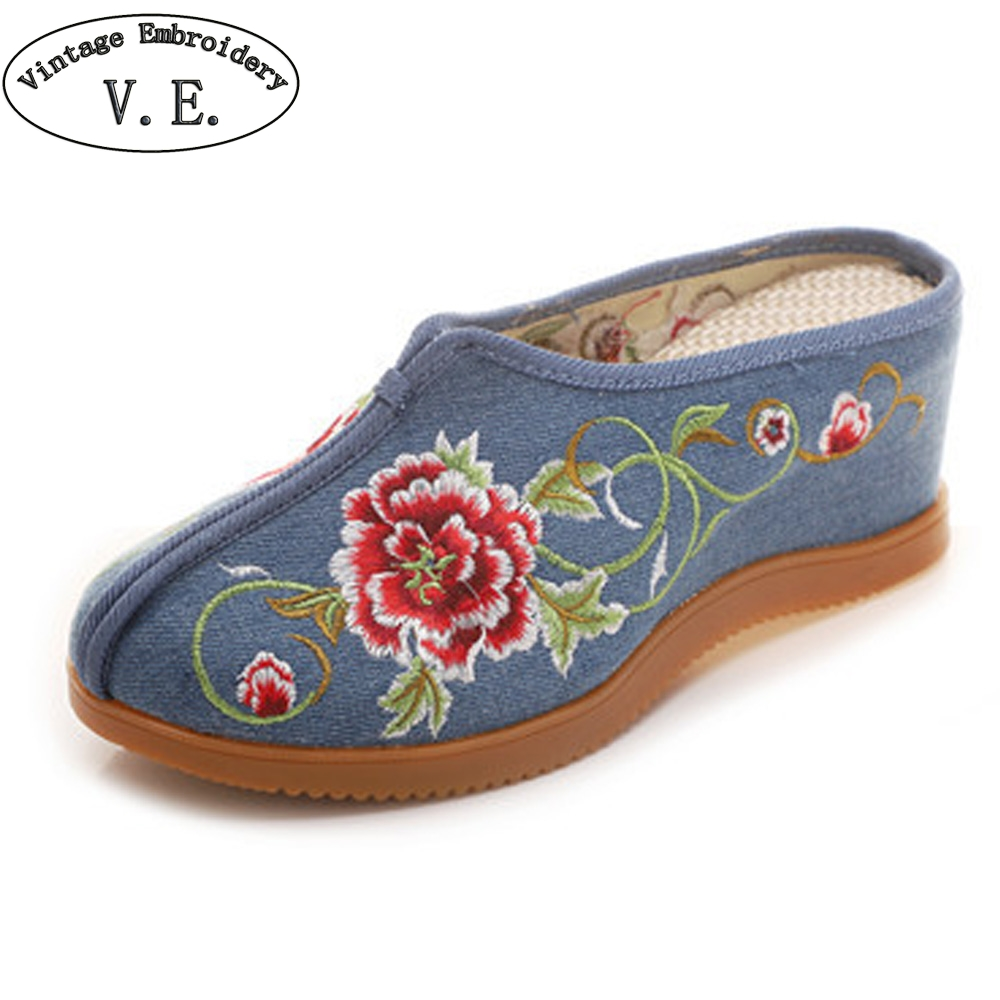 Clever Frauen Bestickte Maultiere Hausschuhe Sommer Nahe Zehe Med Heels Slides Elegante Damen Slip Auf Keile Plattform Schuhe Sapatos Online Rabatt