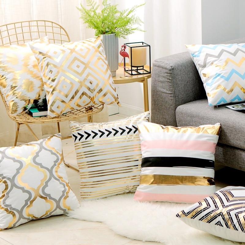Nordic Design Geometric Pattern Bronzing Gold Cushion Decorative Pillow Home Decor Sofa Throw Pillow  Almofada Luxo 17*17inch
