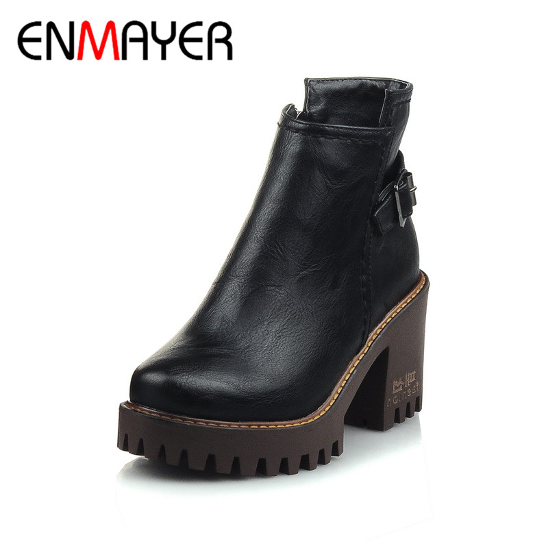 ENMAYER Fashion Ankle Boots Women Round Toe Winter Warm Boots Platform Shoes Autumn/Winter Boots Square Heel Black Red 4Colors hot sale autumn winter shoes round toe fashion ankle women boots sheepskin all match square high heel