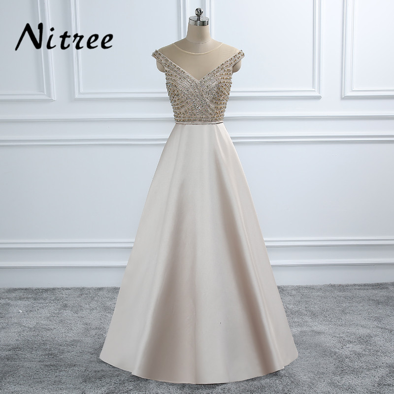 Champagne Beading Formal Evening Dresses 2018 Arabic Aibye African Long Great Gatsby Prom Dress Party Gowns Kaftan Abendkleider