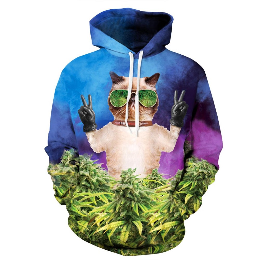 Headbook Hot Sell Women/Men Hoodies Hooded 3d Sweatshirt Print Meow Glasses Cat Green Leaves Hat Hoodies Hoody YXQL047