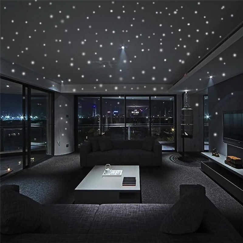 Glow In The Dark Star Autoadesivi Della Parete 407Pcs Puntino Rotondo Luminoso Kids Room Decor 2018