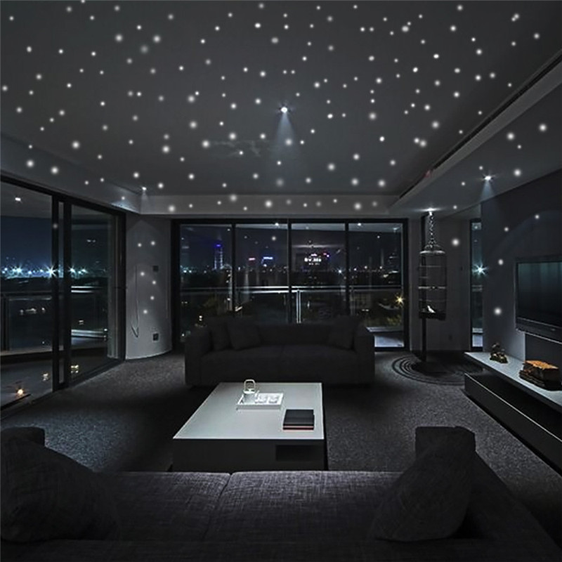 Pegatinas de muro estelar que brillan en la oscuridad 407 Uds. Punto redondo luminoso decoración de habitación de niños 2018