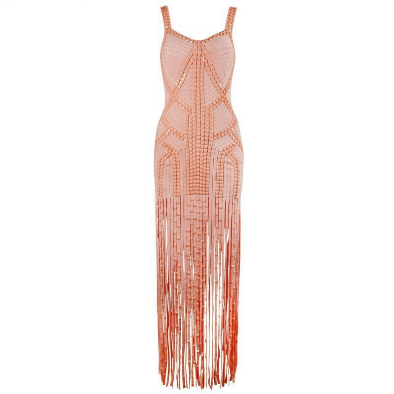 Pink Black Women Summer Bandage Gowns <font><b>Luxury</b></font> Beading Fashion Tassel Sleeveless <font><b>Sexy</b></font> Celebrity Vestidosi Party Long <font><b>Dresses</b></font> <font><b>2018</b></font> image