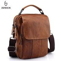 ZZNICK 2017 New Men Genuine Leather Messenger Bag Men Bag Wax Leather Crossbody Shoulder Bag Cowhide