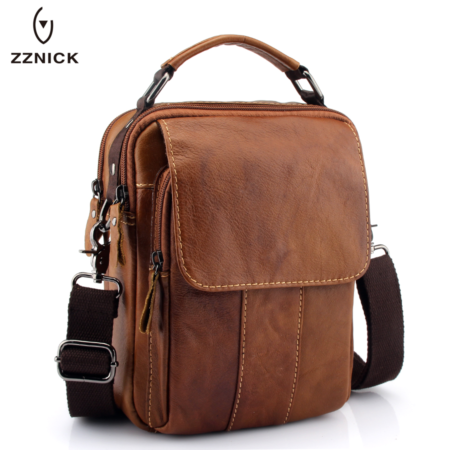 ZZNICK 2018 New Men Genuine Leather Messenger Bag Men Bag Wax Leather Crossbody Shoulder Bag Cowhide Men Business Bags Briefcase new p kuone brand men bag handbag genuine leather shoulder bag cowhide leather men briefcase business casual men messenger bags